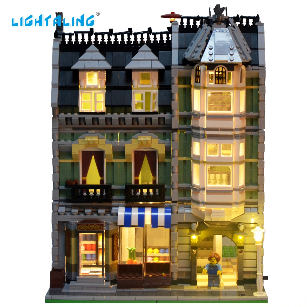 Lightaling LED Light Set For City Street Green Grocer House Model Kit Blocks Toy Compatible with 10185 lightaling led set only light set for cinderella princess castle building model lepin 16008 compatible with lego 71040