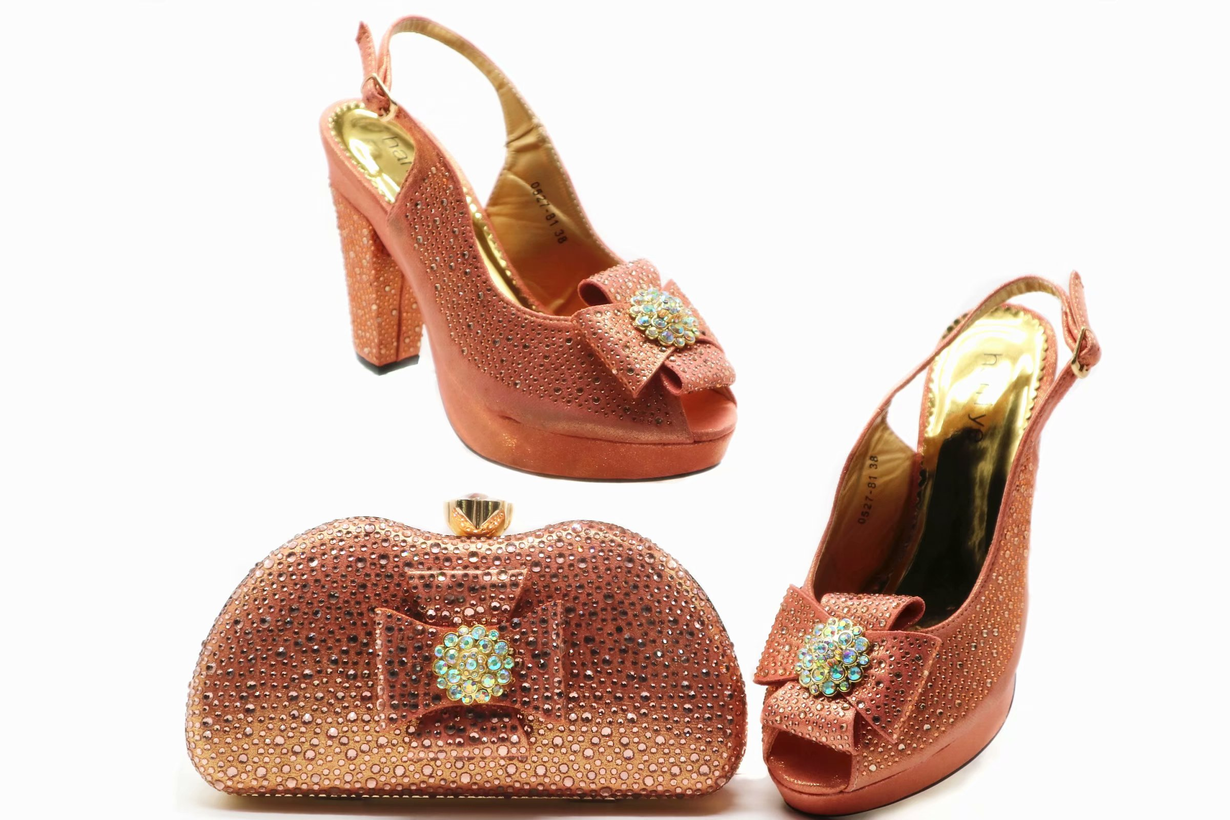Bag Shoes Matching-Set Peach-Color Many-Stones High-Heel Fashion Size-38-To-42-Shoes