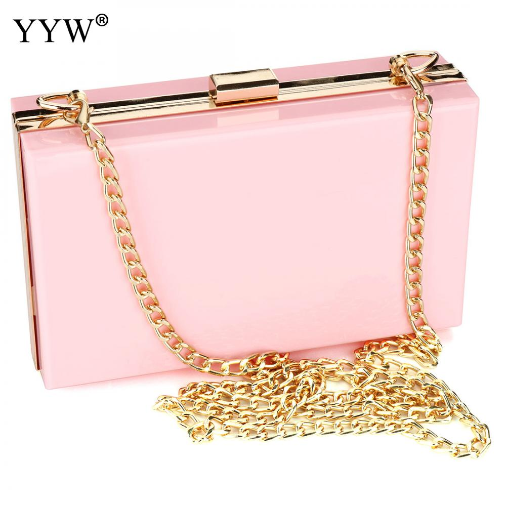 Yyw Transparent Box Clutch Bag Pink Women Handbag 2019 Pochette Femme Green Shoulder Gold Chain Sac