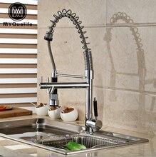Хромированная отделка Высокий палубу, крепление для раковины кухня смеситель для одной ручкой двойной воды Носик с горячей и холодной воды краны