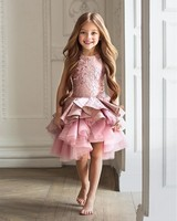 Кружево Винтаж Кружево аппликация короткий сон Платье в цветочек для девочек до колена Длина платье для первого причастия для платья для ма