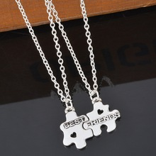 Hot Friendly Jewelry Necklace 2 Puzzle Pieces Slot Together Gift For Best Friends Puzzle Pendant Necklace For Girlfriend XL364