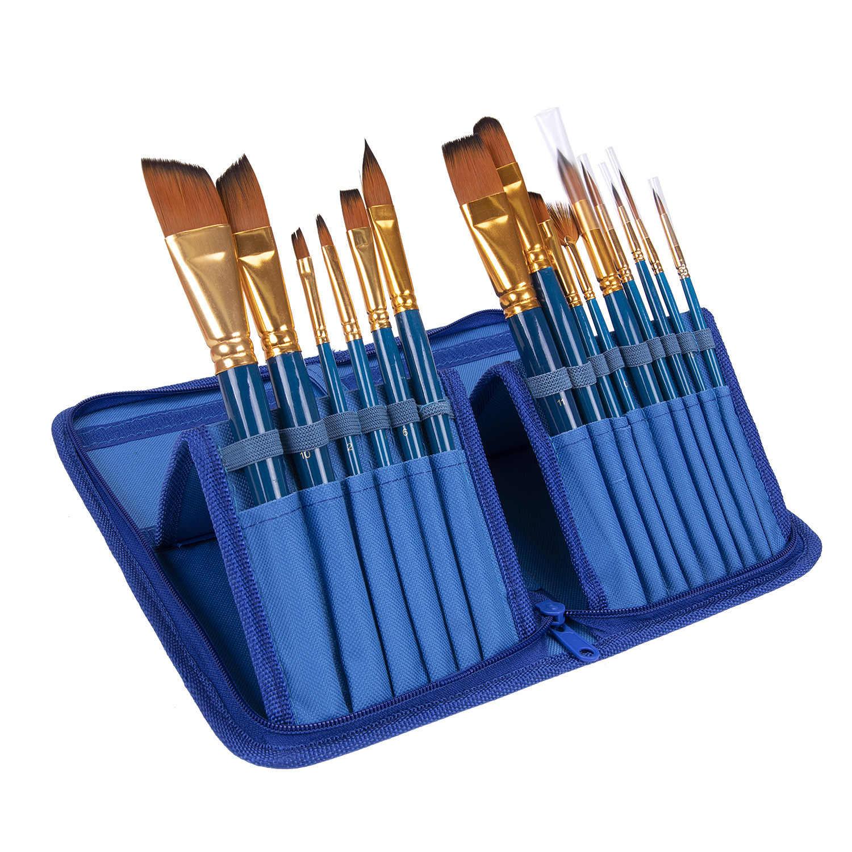 Juego de brochas de pintura acrílicas de pelo de nailon de 15 piezas para la escuela, herramientas de dibujo, brochas de acuarela, suministros de arte