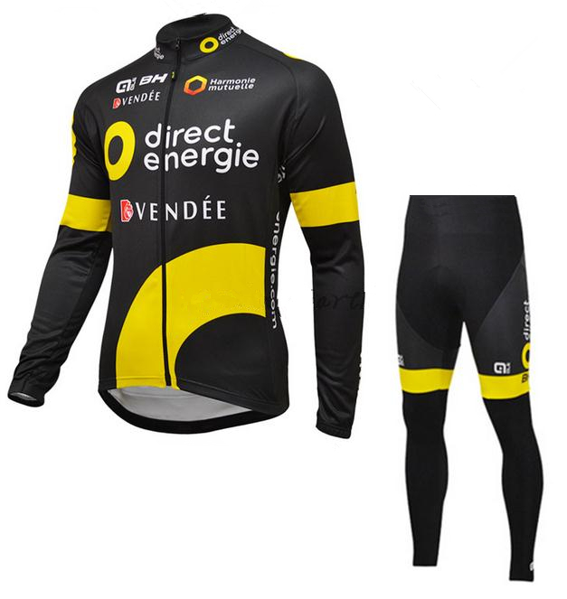 2016 Direct energie BH long sleeve cycling wear clothes bicycle cycling jersey bib pants set ropa maillot ciclismo clothing teleyi team cycling outfits mens ropa ciclismo long sleeve jersey bib pants kits bicycle jacket trousers set red black