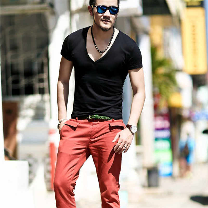 77f9b54a6 ... 2019 Summer Fashion Elasticity Sexy Men Deep V Neck T Shirt Tee Silm  Shirts Fitness Cool