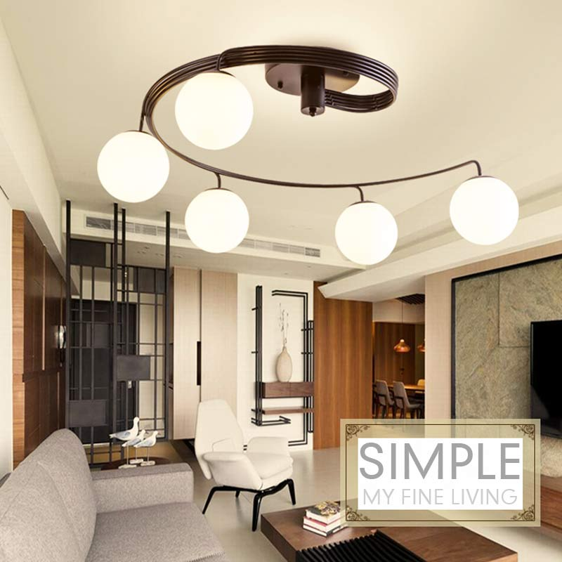 Modern Led Chandelier Lighting Living Room Kitchen Dining Light Fixture Black Wrought Iron Glass Lampshade Home Lamp E27 90-240V led lamp creative lights fabric lampshade painting chandelier iron vintage chandeliers american style indoor lighting fixture