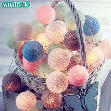 3 м 20 светодиодов ватный шарик огни строки батарея гирлянда из светящихся хлопковых шариков Цепи теплый белый Guirlande Lumineuse Рождественская гирлянда