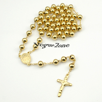 Gold Beads 8mm Big Stainless Steel Religous Rosary Cross Necklaces Gold Chain For Men For Women