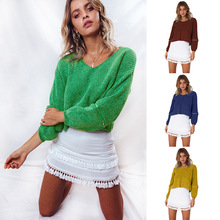 S-XL  autumn winter v neck long sleeve sweaters casual leisure knitted womens brand short coats sweater