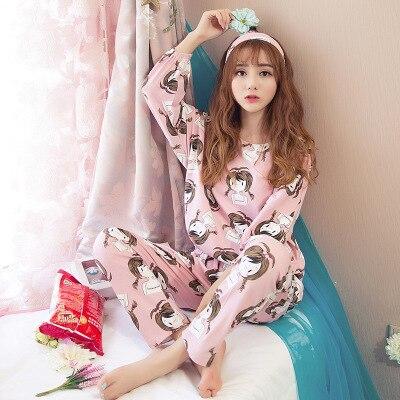 Autumn winter girls pajamas set nifty personality printing princess printed sleepwear  pyjamas women 2 pcs nightgown 063783621