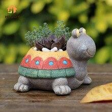 Смолы цветочный горшок декоративные мультфильм кашпо для суккулентов милые животные Бонсай горшки пастырской черепаха микро пейзаж рабочего деко