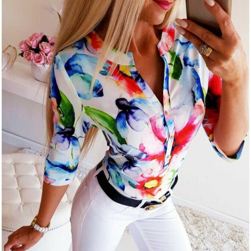 Fashion Women O-Neck Floral 3//4 Sleeve Button Tops Oversize Loose T-Shirt Blouse