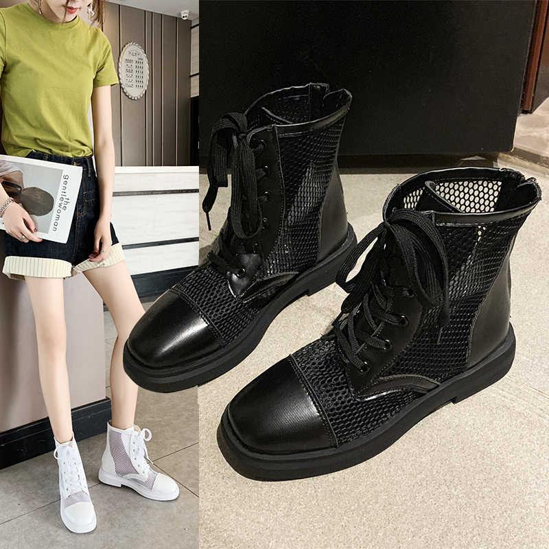 2019 קיץ חדש חלול לנשימה תחרה רשת נעלי אדום דק במיוחד slim מגפיים בצינור מרטין מגפי נשים נעליים