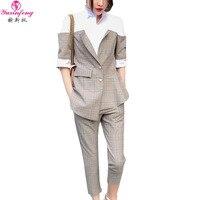 Yuxinfeng новый весенне осенний Женский блейзер брюки костюм сексуальный модный клетчатый лоскутный Рабочий костюм брюки комплект из 2 предмет