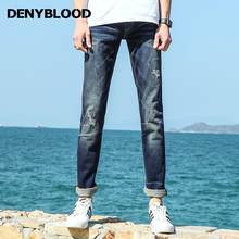 Denyblood Mens Stretch Denim Distressed Jeans Ripped Vintage Washed Destroyed Hole Slim Straight Casual Pants Trousers 828618