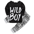 Hot Newborn Baby Kids Boys Wild Boy Letter Long Tops + Plaid Pants Outfits  Outfits Sets Baby Summer Clothing 0-2Y