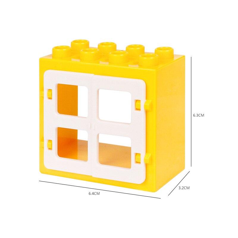 DIY House Big Particles Building Blocks Compatible LegoINGS Duploe Basics Accessory Movable Window Door Set Bricks Kids Toys (2)