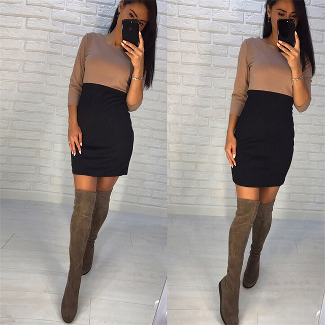 AiiaBestProducts - Autumn Summer Women Office Lady Patchwork Dresses 4