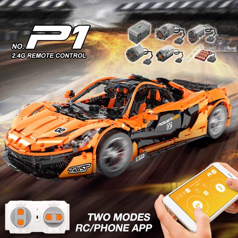 Dhl 20087 o MOC 16915 mclaren p1 velocidade carro conjunto app rc técnica motor brinquedos blocos de construção tijolos crianças brinquedos presentes natal - 4