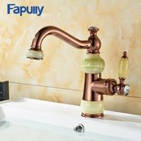 luxury single handle rose gold faucet jade mixer tap 360 degrees bathroom brass basin faucet