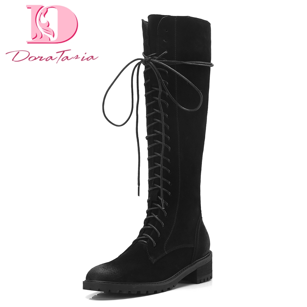 Doratasia 2018 Cow Suede leather top quality square Heels Zip Up Woman Boots Shoes Woman Black Knee-High Boots riding bootsDoratasia 2018 Cow Suede leather top quality square Heels Zip Up Woman Boots Shoes Woman Black Knee-High Boots riding boots
