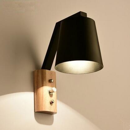 Kreative Holz Eisen Wandleuchten Moderne LED Wandleuchten Treppen Leuchten Für Schlafzimmer Wandleuchte Home Innenbeleuchtung Lamparas - 2