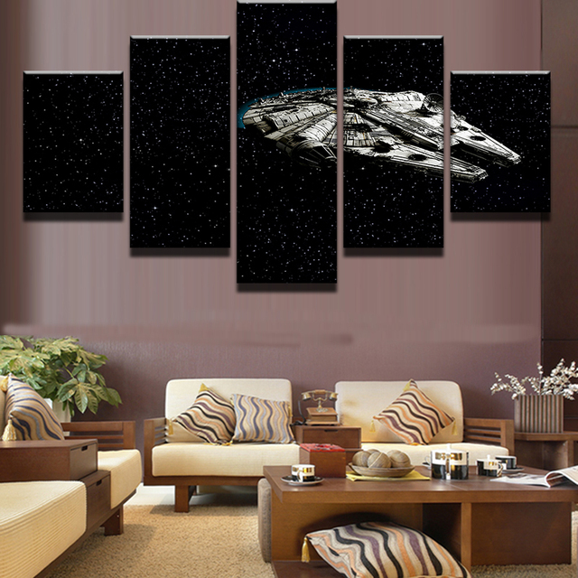 537583a45a6 5 Pieces Star Wars Millennium Falcon Painting Canvas Wall Art Picture Home  Decoration Living Room Canvas Print Modern Painting