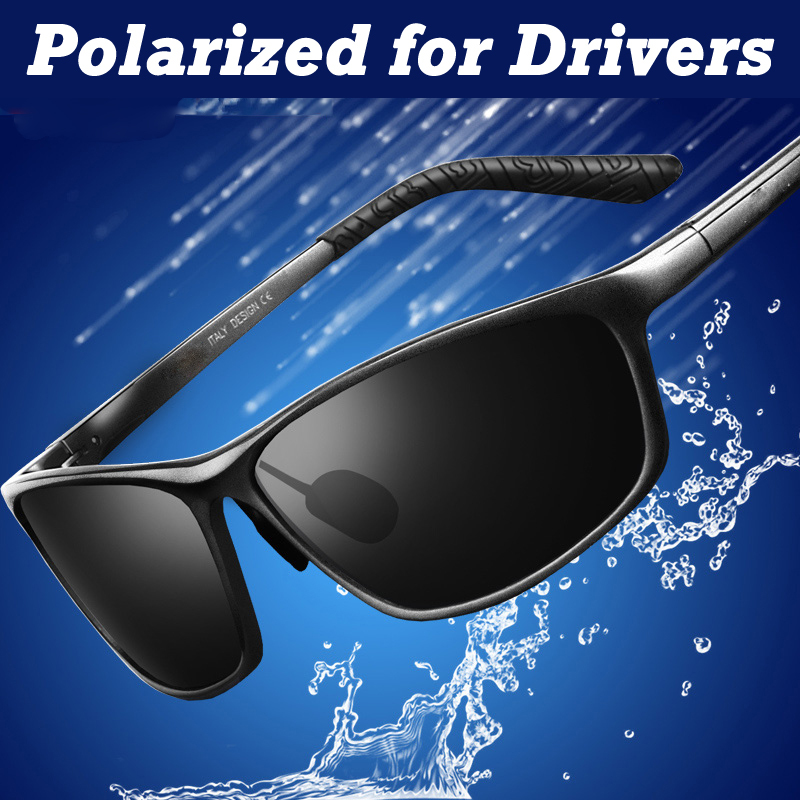 Rétro Cool Hommes lunettes de soleil polarisées ulm aviation aluminium  magnésium plein cadre lunettes de soleil lunettes de pilote 021ca8103896