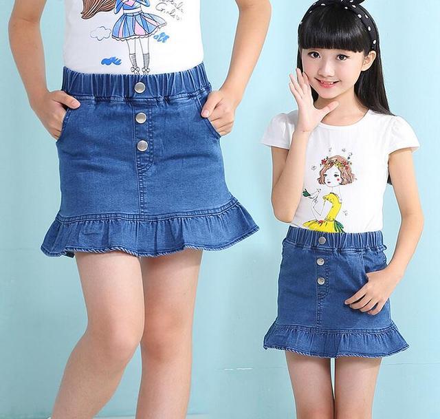 New Girls Summer Denim Ruffled Skirts Girls Jeans Rivet Skirt Baby