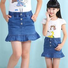 New Girls Summer Denim Ruffled Skirts Girls Jeans Rivet Skirt