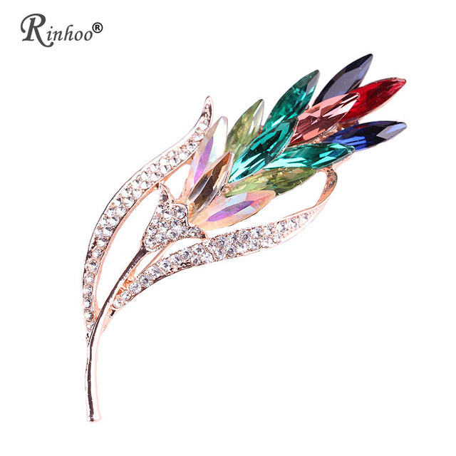 Rinhoo Multi-color Crystal Flower Brooches Rhinestone Brooch Pin Fashion Jewelry Coat Dress Corsage Jewelry Broches Gift