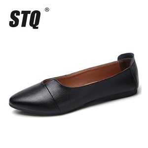 Image 2 - STQ 2020 Autumn Women Ballet Flats Genuine Leather Shoes Slip On Loafers Women Flats Woman Shoes Black Grandmother Shoes 1189