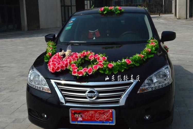 2017 Nueva Seda Artificial Rose Flowers Wedding Car Decoration Set - Para fiestas y celebraciones - foto 3