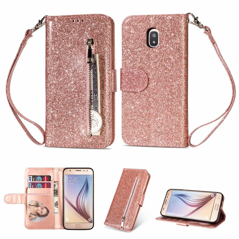 For Samsung Galaxy J3 J5 J7 2017 EU Zipper Wallet PU Leather Silicone Glitter With Card Slot Flip Case For A6 A7 J4 J6 Plus 2018