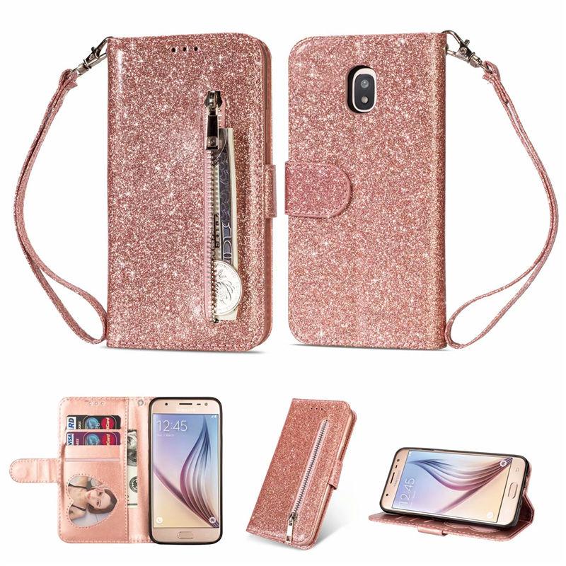 Galleria fotografica For Samsung Galaxy J3 J5 J7 2017 EU Zipper Wallet PU Leather Stand Silicone Glitter With Card Slot Flip Case A6 J4 J6 Plus 2018
