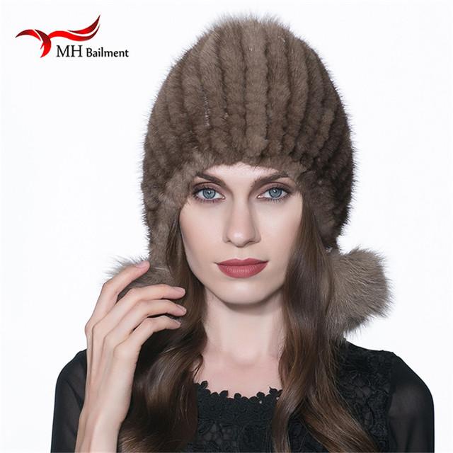 Nueva bola de piel de Zorro sombrero de piel de Visón visón sombrero de moda de punto sombreros sombrero de visón Informal Sombrerería Femenina W #01