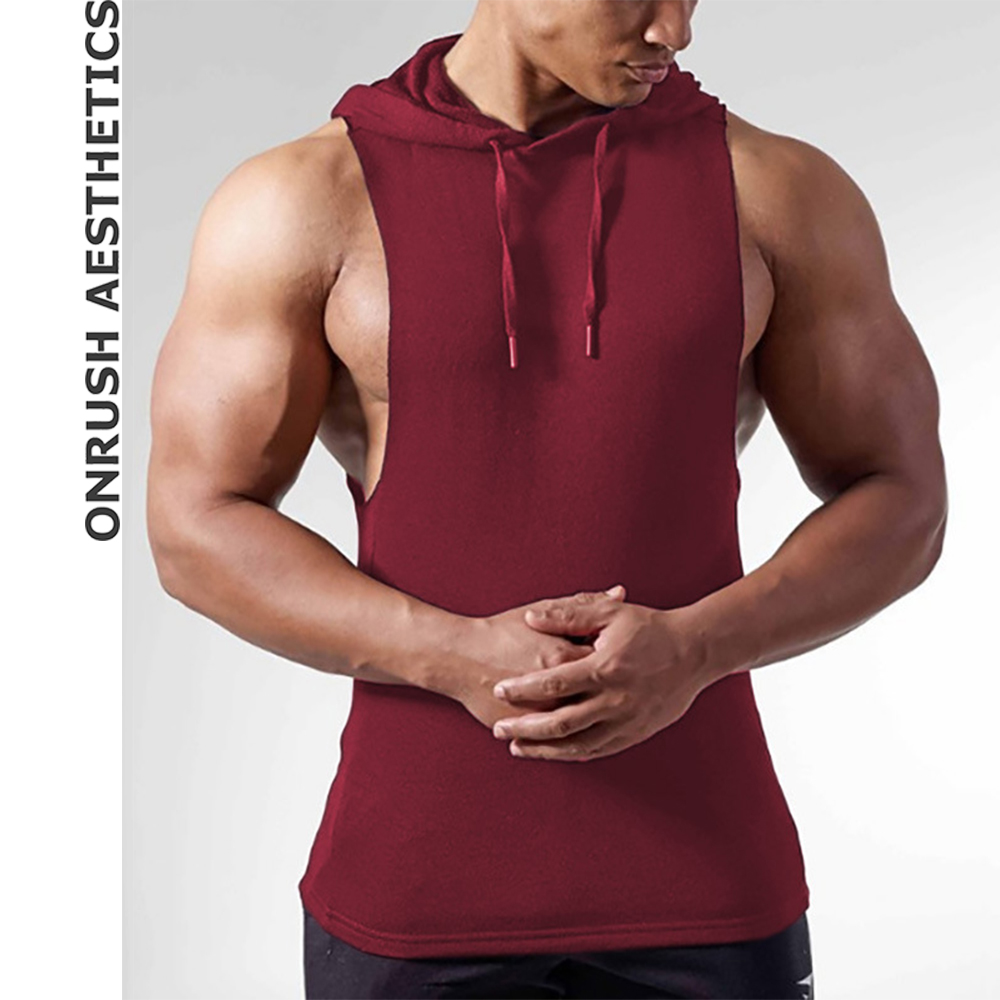 OA Fitness Men's Sleeveless Hoodie Vests Pure Cotton Breathable Bodybuilding Casual Solid Color Thin Hooded Workout Tank Tops