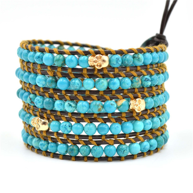 leather men bracelet 4mm Natural turquoise beaded bracelets men beads bracelet  bangle 5 men  for women JBN-8895