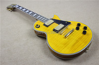 Hot Sale LP Custom electric guitar tiger striped maple cover yellow color gold hardware 1960s version lp custom electric guitar