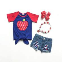 Terug naar school zomer baby meisjes kinderen kleding outfits tie top denim shorts rood royal apple katoen ruches match accessoires(China)