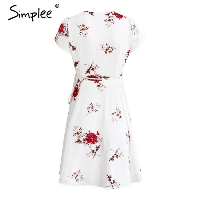 Simplee Elegant floral print short dress Women boho v neck lace up sexy dress female Summer waist tie girls dresse vestidos 2017