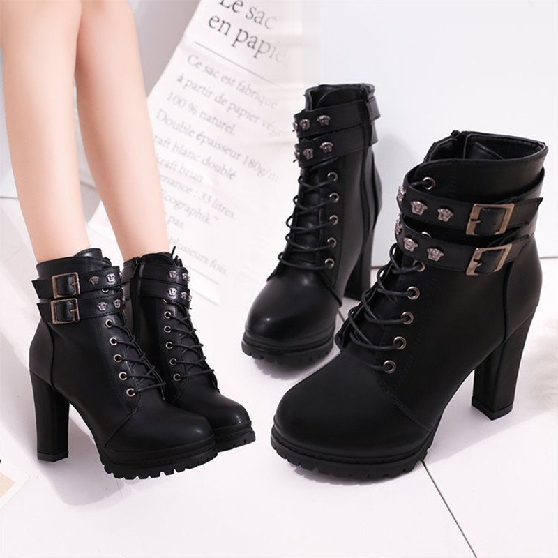 New Fashion Casual Women Boots Martin boots 2018 Autumn Winter Autumn Ankle Platform Ladies Boots PU Leather Shoes For Women Zip 3