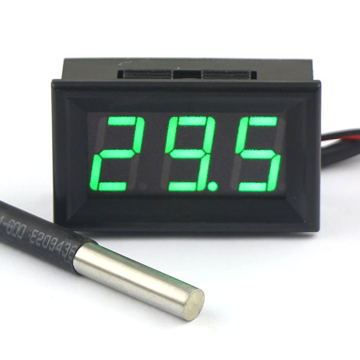 Mini Digital Thermometer -55~125 Celsius Degrees 0.56 Green LED Waterproof DS18B20 Sensor DC 12V 24V Temperature Meter dc12v 24v digital meter 20 100 degrees celsius thermometer dual display temperature meter for car water air indoor outdoor etc