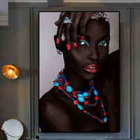 1 Piece Black Nude African Sexy Woman Lips and Nails Canvas Painting Posters and Prints Artworks No Framed