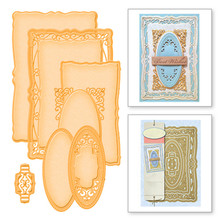 YaMinSanNiO 4 Pcs Frame Metal Cutting Dies Scrapbooking for Card Making DIY Embossing Pattern Photo Background