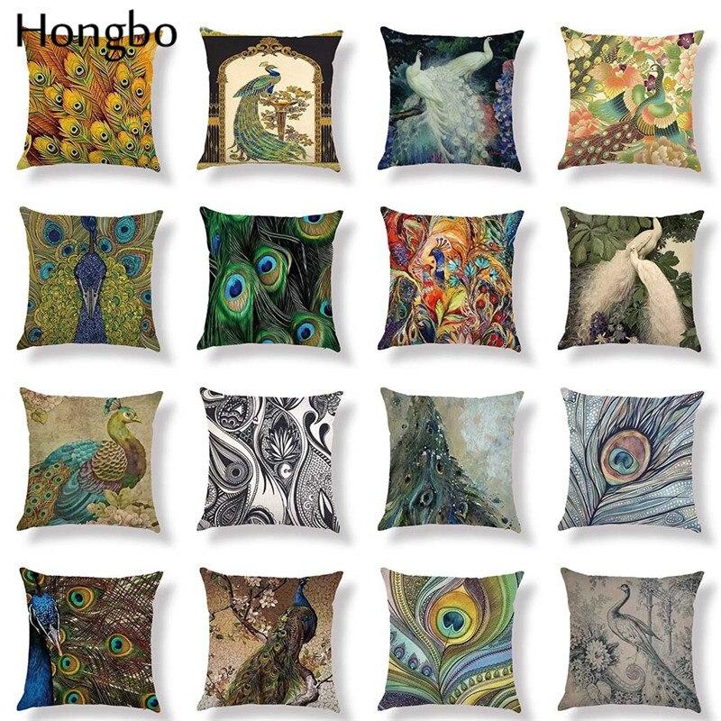 Hongbo Decorative Pillow Case Fashion Peacock Bird Feather Pillowcase Linen Chair Seat Throw Cover