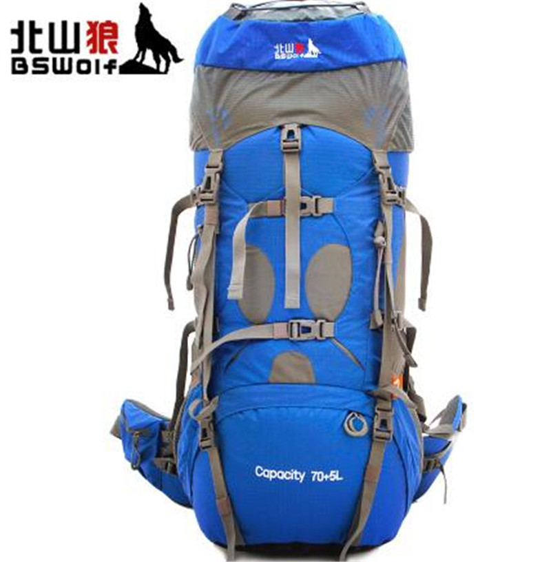BSWolf 75L Mountaineering Bag With Rain Cover Travel Backpack Waterproof Climbing Hiking Backpack Outdoor Camping Equipment