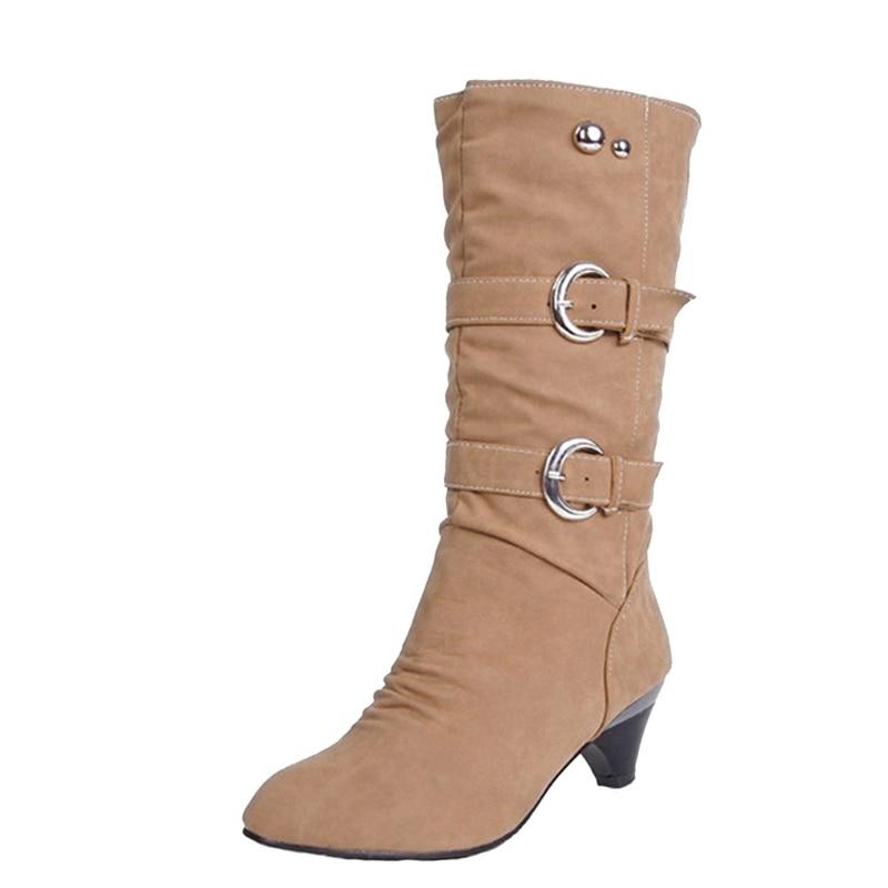 Xemonale Low High Heels Women Boots Autumn Buckle Mid-Calf Boots Elegant Ladies Heels Pumps Slip On Platform Shoes Woman XWX931 туфли на высоком каблуке mid high heels shoes 2015 heles sapato feminino ladies mid high pumps