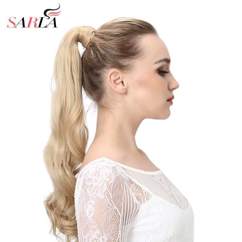 SARLA 200pcs lot Clip In Natural Wave Wrap Ponytail Heat Resistant Synthetic Hair Extensions P002