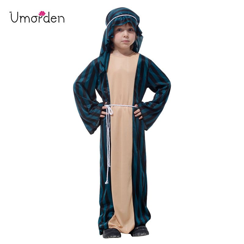 Umorden Child Arab Arabian Sheik Warrior Soldier Costume Kids Boys Shepherd Costumes Halloween Carnival Party Fancy Cosplay
